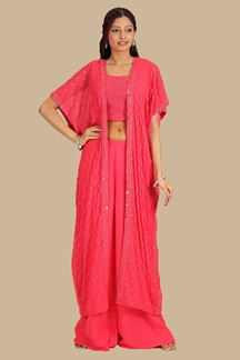 Picture of Ready Made Pink Colored Palazzo With Jacket Style Suit