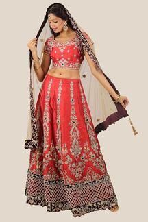Picture of Wedding Wear Rust Colored Designer Lehenga Choli