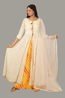 Picture of Ravishing Cream Colored Anarkali Suit With Palazzo