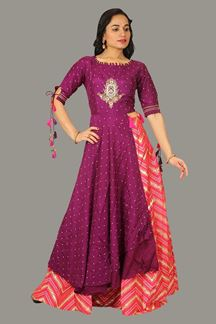 Picture of Lovely Purple & Pink Colored Stylized Lehenga With Top Top Suit
