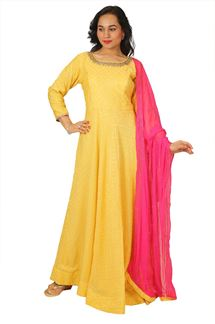 Picture of Charming Yellow Colored Anarkali Suit