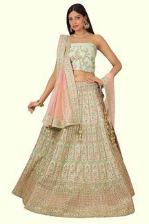 Picture of Trendy Pista & Peach Colored Wedding Wear Lehenga Choli