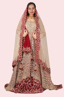 Picture of Trail Cut Bridal Golden & Maroon Colored Designer Lehenga Choli