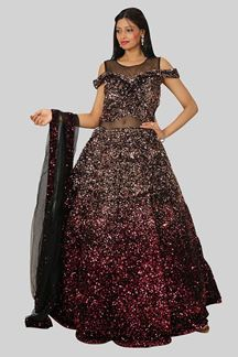 Picture of Sensational Maroon Colored Designer Partywear Gown