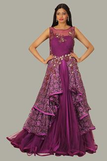 Picture of Stunning Purple Colored Designer Gown