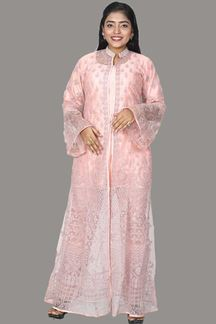 Picture of Beautifully Adorned Peach Color Pant With Jacket Suit