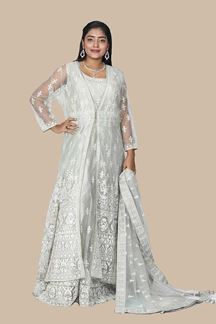 Picture of Designer Wedding Wear Pista Colored Jacket Gown