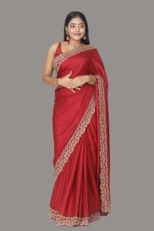 Picture of Grooving Maroon Colored Satin Saree
