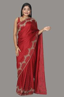 Picture of Blooming Maroon Colored Satin Saree