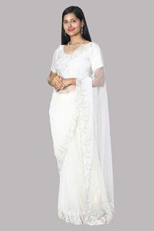 Picture of Blooming White Colored Net Saree