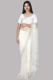 Picture of Ravishing off- White Colored Net Saree