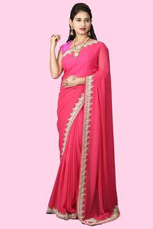 Picture of Designer Partywear Pink  Colored Georgette Saree