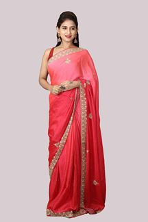 Picture of Classy Rani Pink Colored Satin Saree