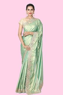 Picture of Captivating Green  Colored Satin Saree