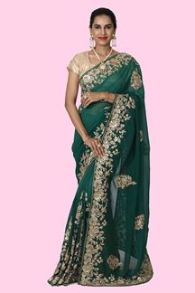 Picture of Innovative Green  Colored Georgette  Saree