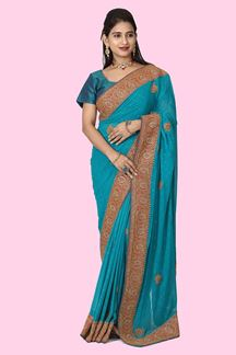 Picture of Blooming Green  Colored Satin Saree