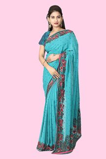 Picture of Glowing Turquoise Green  Colored Satin Saree