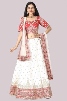 Picture of Charming Red & White Colored Bridal Lehenga Choli