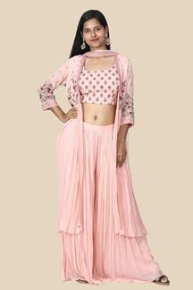 Picture of Attractive Peach Color Palazzo Suit With Jacket & Dupatta