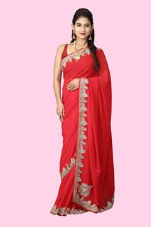 Picture of Radiant Red Colored Georgette Saree