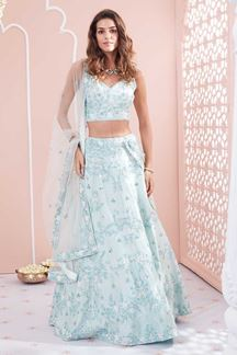 Picture of Engagement Look In Blue Colored Lehenga Choli
