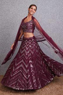 Picture of Blooming Wine Colored Designer Lehenga Choli