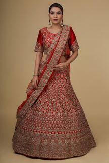 Picture of Blissful Red Colored Silk Embroider Bridal Lehenga Choli