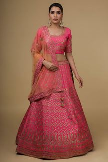 Picture of Attractive Pink Colored  Silk Lehenga Choli