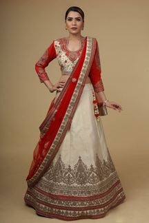 Picture of Stunning Beige & Red Colored Partywear Lehenga Choli
