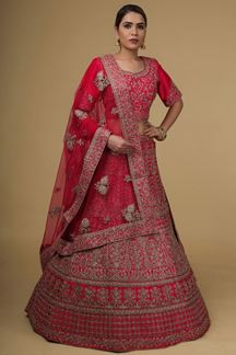 Picture of Smouldering Pink Colored Silk Lehenga Choli