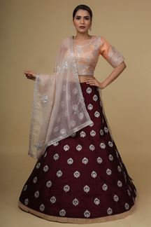 Picture of Entrancing Maroon And Peach Colored Silk Lehenga Choli