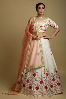 Picture of Blooming Off-White Colored Silk Lehenga Choli