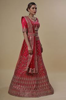 Picture of Engrossing Pink Colored Silk Lehenga Choli