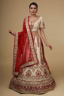 Picture of Groovy Red & Beige Colored Silk Lehenga Choli