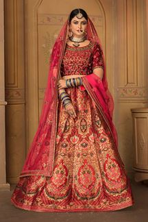 Picture of Marron Colored Embroidered Silk Lehenga Choli With Net Dupatta