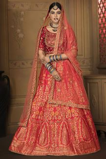 Picture of Traditional Red Colored Silk Lehenga Choli With Net Dupatta