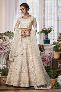 Picture of Sophisticated Off White Colored Net lehenga Choli