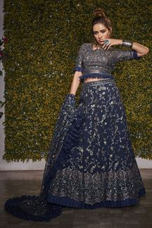 Picture of Arresting Navy Blue Colored Party wear Lehenga Choli