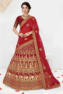 Picture of Blooming Red Colored Silk Lehenag Choli