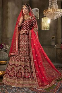 Picture of Delightful Maroon Colored Silk Lehenga Choli