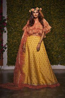 Picture of Sensible Yellow & Peach Colored Partywear Lehenga Choli