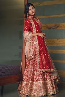 Picture of Graceful Red Colored Silk Lehenga Choli