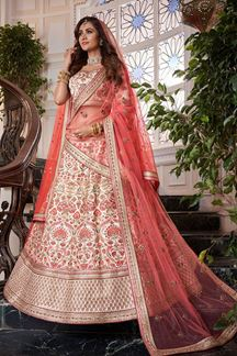 Picture of Excellent Off-White Colored Silk Lehenga Choli