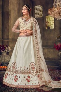 Picture of Appealing Off-White Colored Silk Lehenga Choli