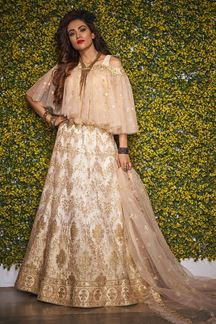 Picture of Adorning Beige Colored Fancy Partywear Lehenga Choli