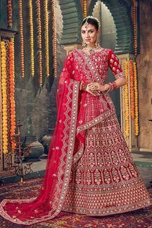 Picture of Smashing Rani Pink Colored Velvet Lehenga Choli