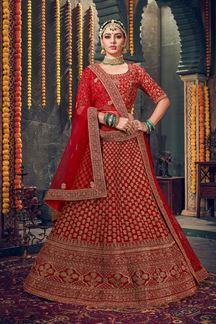Picture of Outstanding Red Colored Velvet Lehenga Choli