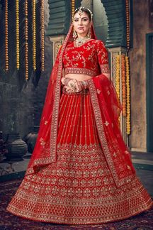 Picture of Attractive Red Colored Silk Lehenga Choli
