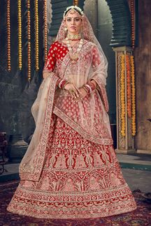 Picture of Bollywood Style Red Colored Velvet Lehenga Choli
