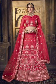 Picture of Rani Pink Colored Silk Lehenga Choli